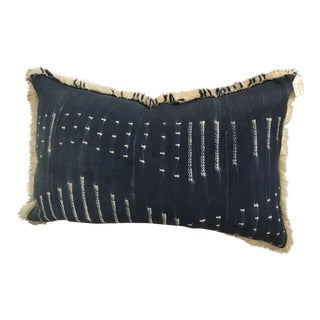 Boho Style Indigo & Fur Pillow