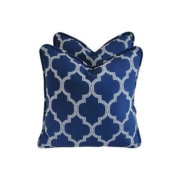 Custom Bocce Blue White Geometric Pillows- A Pair - Image 3 of 7