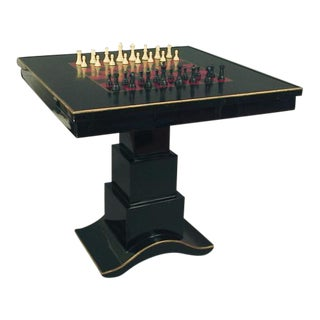 Art Deco-styled Black and Red Chess Table
