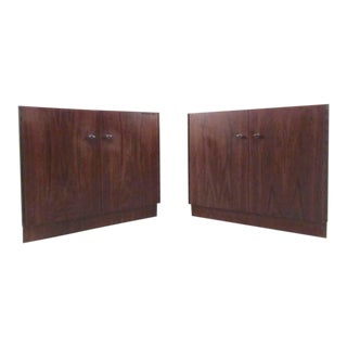 Pair Spacious Mid-Century Cabinet Style End Tables