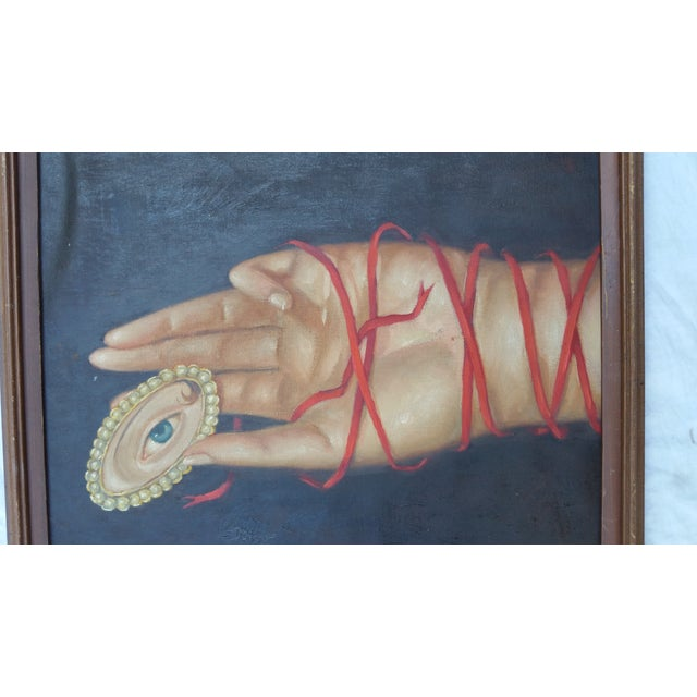 Image of Oil Painting of Hand with Lovers Eye Pin