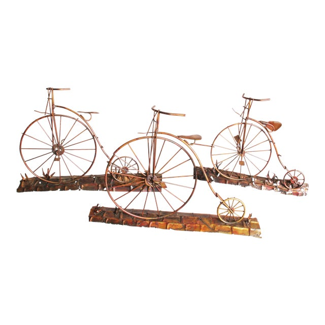 Mid Century Modern Gold Metal Penny Farthing Wall Art - Image 1 of 11