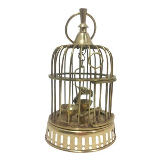 Solid Brass Gilded Bird in Hanging Cage