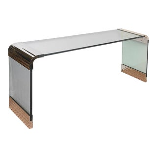 Pace Collection Nickel Silver and Original Glass Waterfall Console Table