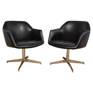 Steelcase Black & Chrome Lounge Chairs - A Pair