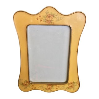 Vintage Curved Enamel & Brass Photo Frame