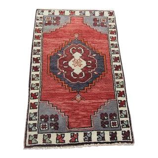 Vintage Turkish Oushak Tribal Hand Knotted Rug- 1'9 x 2'11