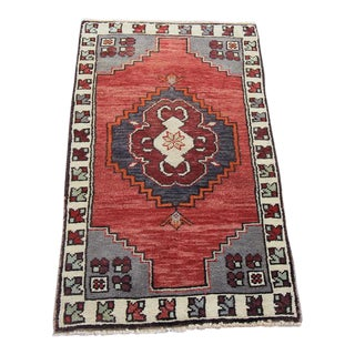 Vintage Turkish Oushak Tribal Hand Knotted Rug- 1'9 x 2'11