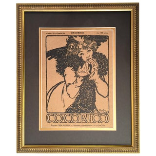 Framed 1899 Original Alphonse Mucha Cocorico Cover