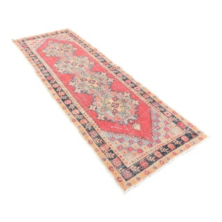 Vintage Anatolian Muted Handwoven Red Runner Rug -3′4″ × 9′8″
