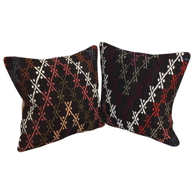 Vintage Kilim Throw Pillows - Pair - Image 1 of 6