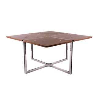 Rare Expandable Wenge and Steel Dining Table by Dyrlund