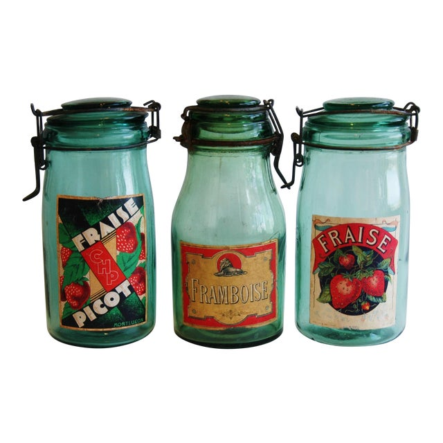 Image of 1930s French Canning Preserve Jars w/ Labels & Lids - Set of 3