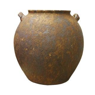 Ceramic Rough Rusty Brown Dimensional Marks Vase Jar cs2619