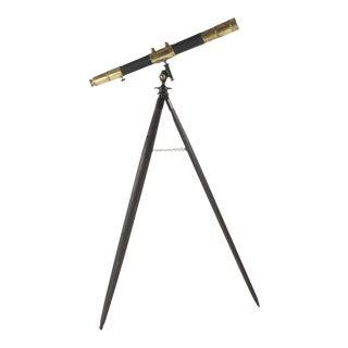 20th Century Vintage Brass Telescope on Wooden Tripod