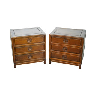 Chinese Rosewood Asian Style 3 Drawer Nightstands - A Pair