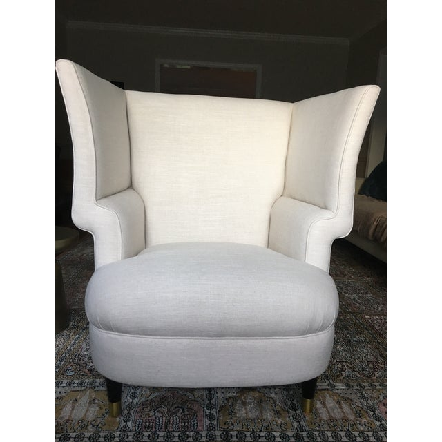 Modernist Linen Chair - Image 2 of 4