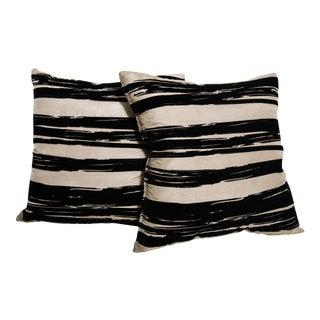 Contemporary Raw Silk Pillows-A Pair