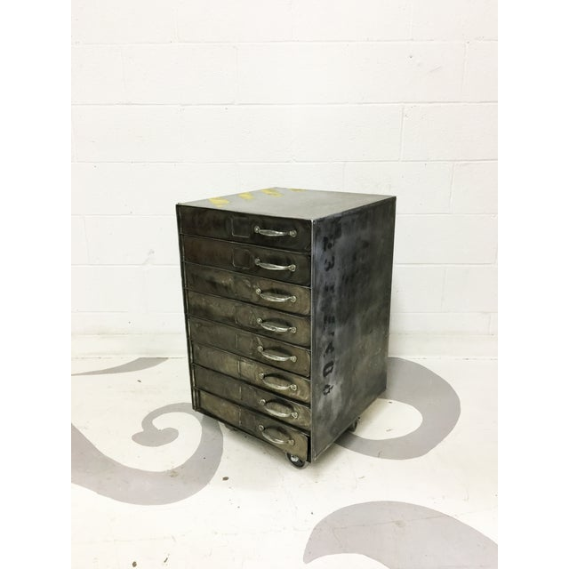 Vintage industrial brushed metal cabinet chairish for Brushed aluminum kitchen cabinets