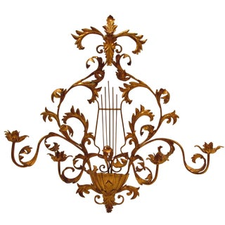 Lyre & Leaves Wall Sconce in Gold Gilt