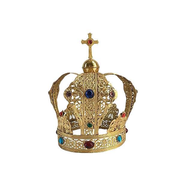 Vintage Brass Filigree Cabochon Crown - Image 1 of 5