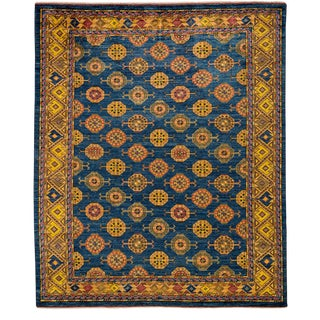 "Traditional Blue Hand-Knotted Rug- 8'3"" x 9'6"""