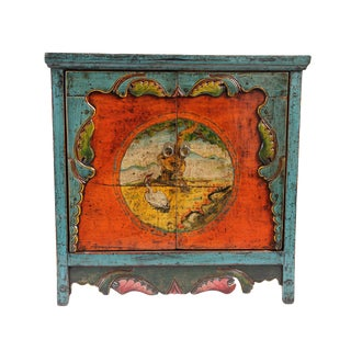 Painted Mongolian Storage Cabinet