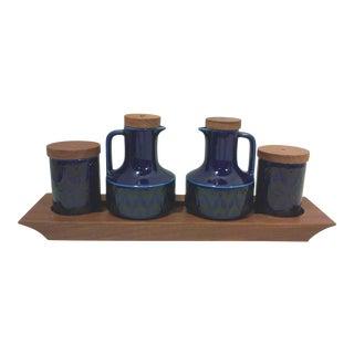 Mid-Century English Cobalt Blue Ceramic and Teak Condiment Set - 5 Pieces