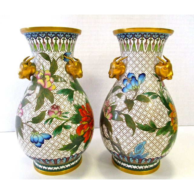 Chinese Colorful Cloisonne Vases - A Pair - Image 2 of 7