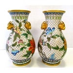 Image of Chinese Colorful Cloisonne Vases - A Pair