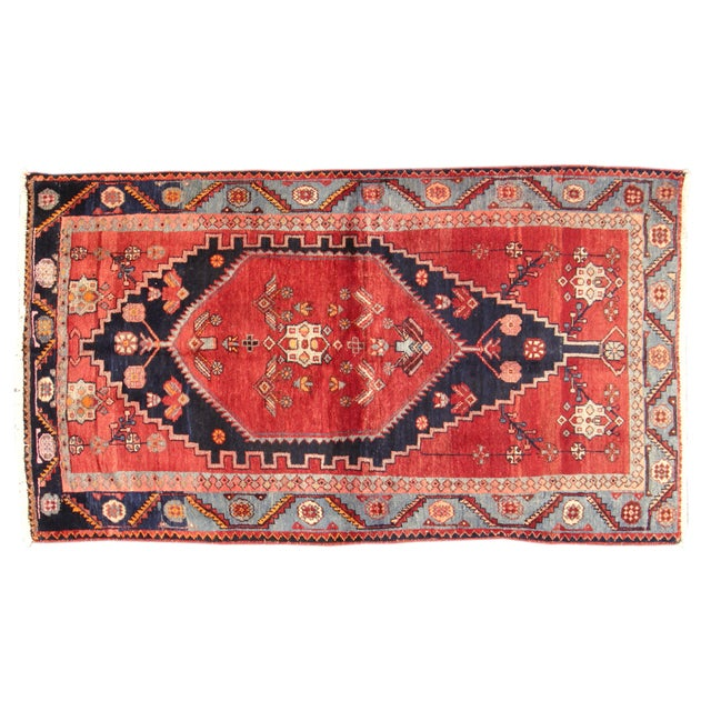 "Vintage Red & Blue Persian Rug - 3'7"" X 6'3"" - Image 1 of 4"