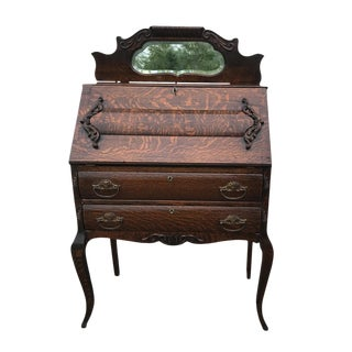 Antique Victorian Tiger Oak Mirrored Drop Front Secretary Writing Desk