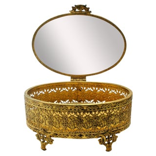 Ormolu Jewelry Casket Angel Gilt Gold Vintage Box