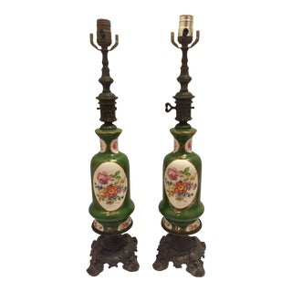 19th Century French Sevres Style Porcelain Ormolu Table Lamps - A Pair
