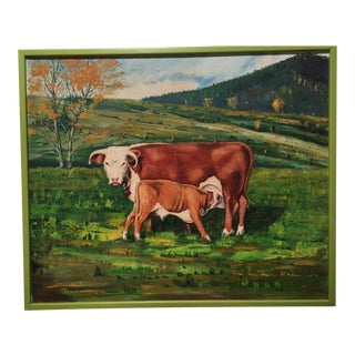 "Mid-Century ""Cow and Calf in Pasture"" Pastoral Landscape"