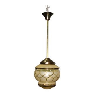 Circa 1940s French Art Deco One Light Globe Chandelier Lantern
