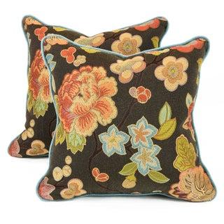 Cherry Blossom and Aqua Velvet Pillows - Pair