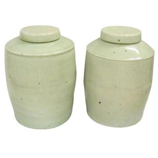 Pair Seafoam Jars with Lids, China, Contemporary