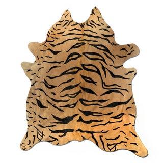 Handmade Tiger Print Cowhide 6' x 7'