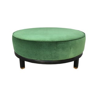 Mid Century Hollywood Regency Green Velvet Ottoman Coffee Table
