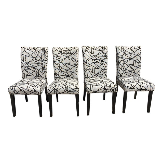 Image of Modern Rolled-Back Dining Chairs - A Pair