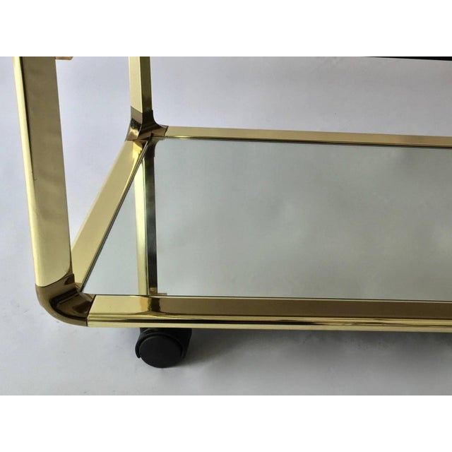 Vintage 1970s Smoked Glass & Mirror Brass Bar Cart - Image 6 of 6