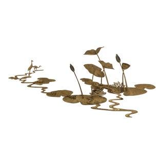 Brass Water Lilies Wall Sculpture by Bijan