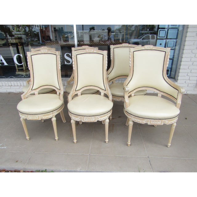 Cream White Carved Wood Dining Chairs - Set of 6 - Image 2 of 7
