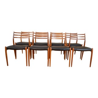 Beautiful Set of Eight JL Mollers Model 78 Danish Teak & Leather Dining Chairs