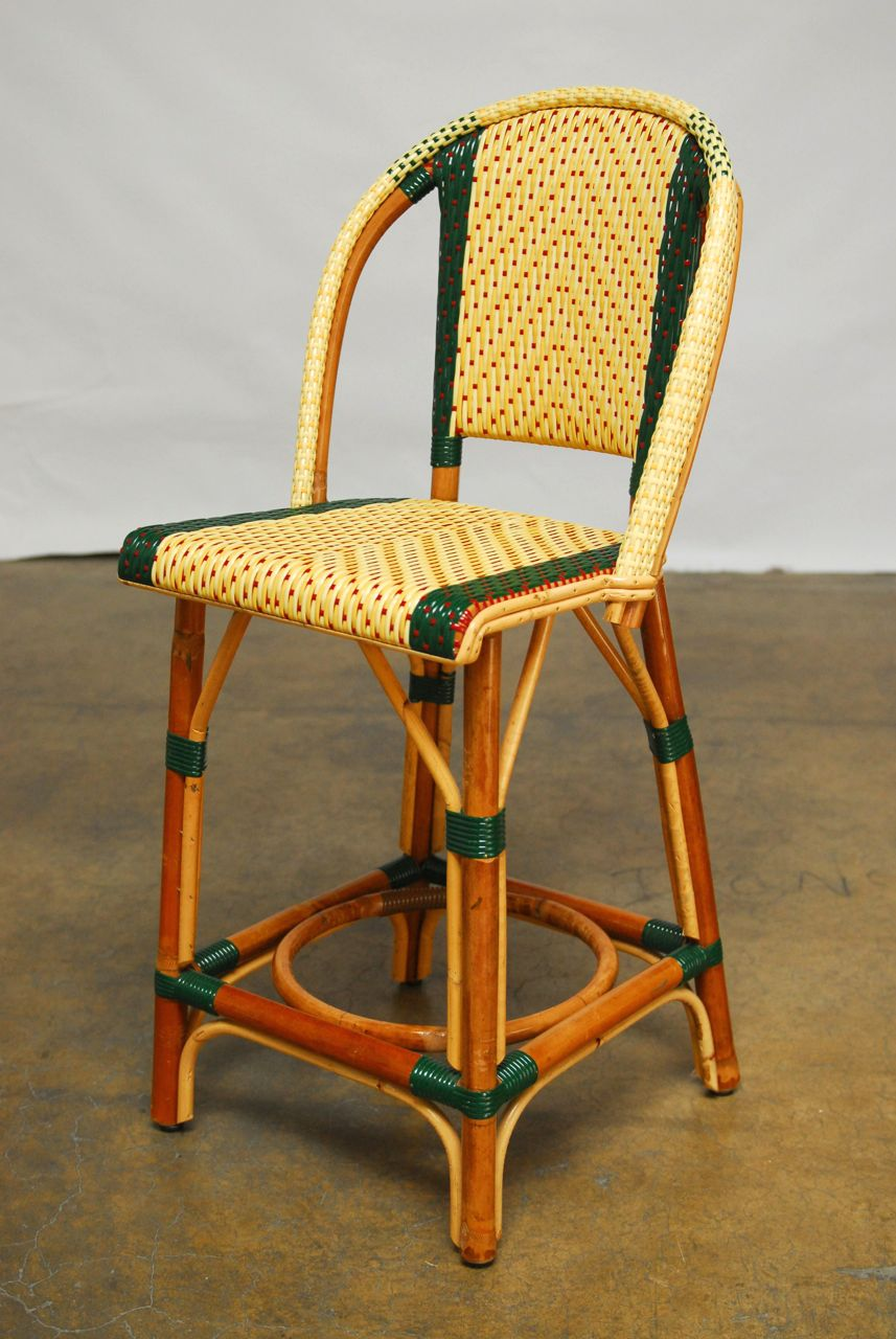 French Rattan Maison Gatti Bistro Bar Stools Pair Chairish