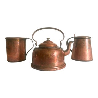 Antique 19th Century French Country Hand Forged Rustic Copper Cookware - Set of 3