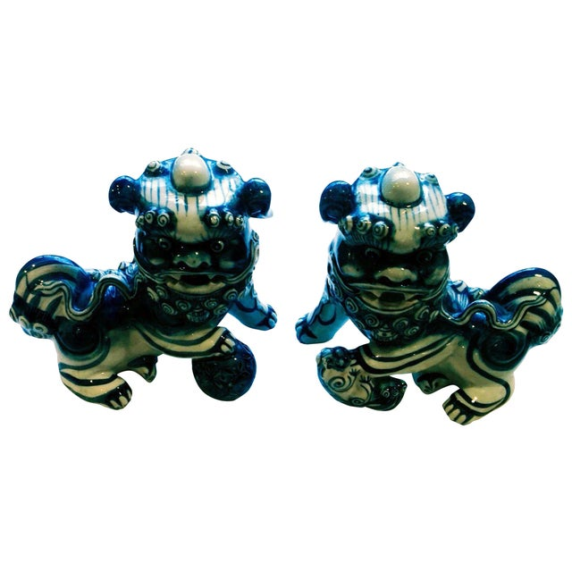 Blue & White Porcelain Foo Dogs - A Pair - Image 1 of 7