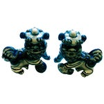Image of Blue & White Porcelain Foo Dogs - A Pair