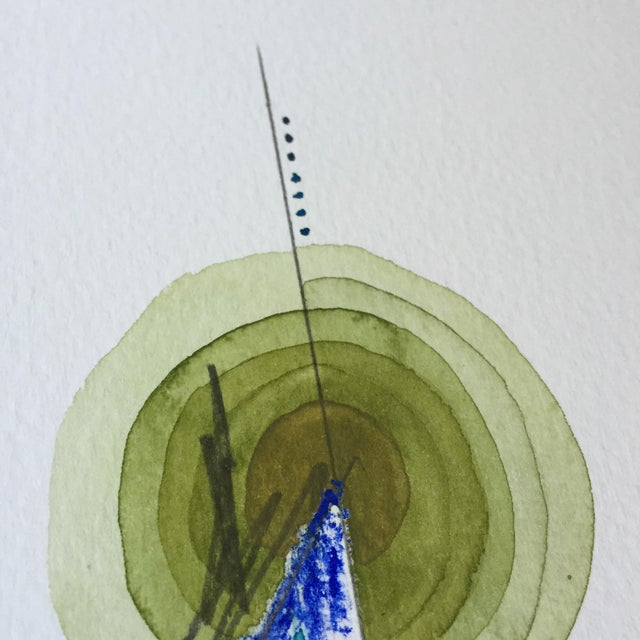 Green Single Totem Painting on Paper - Image 3 of 6